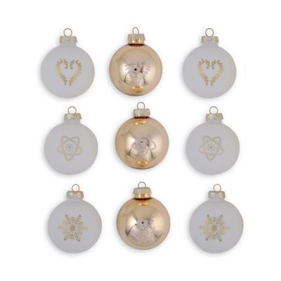 Set of Nine White & Gold Traditional Glass Christmas Baubles