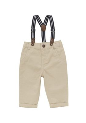F&F Twill Chinos with Striped Braces Neutral 3-6 months