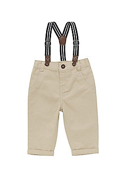 F&F Twill Chinos with Striped Braces - Neutral