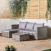 VonHaus Rattan Corner Sofa Set - Garden Rattan Furniture