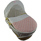 Cuddles Collection Moses Basket (Pink Polka Dot)