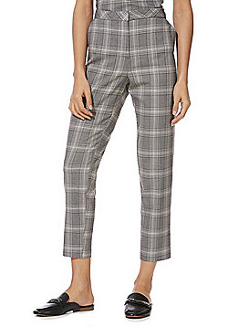 F&F Checked Slim Leg Trousers - Grey