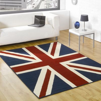 Rugs with Flair Retro Funky Buckingham Red / White / Blue Novelty Rug - 160cm x 225cm