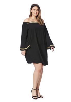 Lovedrobe Glitter Chain Print Plus Size Dress Black 30
