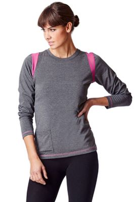 Long Sleeve Pocket Yoga Top Grey 2X