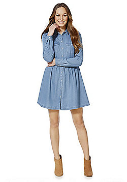 Only Isabel Denim Shirt Dress - Light wash denim