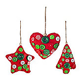 Set of Three Red Fabric & Button Christmas Tree Decorations