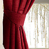 Homescapes Wine Red Chenille Curtains Tie Backs Pair