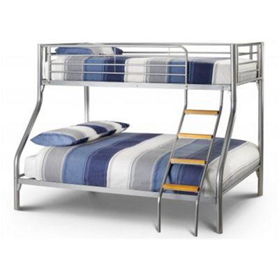 Aluminium Metal Finish Triple Sleeper Bunk Bed 1 x Double and 1 x Single - 4'6