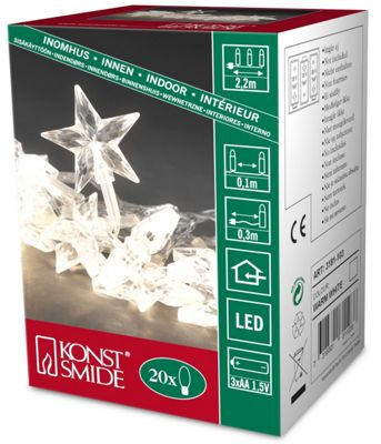 Konstsmide Warm White LED Battery Operated Decoration Light Set with Star Decorations