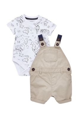 F&F Twill Dungaree and Short Sleeve Bodysuit Set Multi 12-18 months
