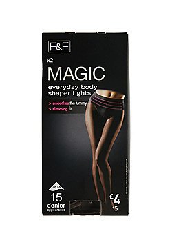 F&F Magic 2 Pack of Body Shaper 15 Denier Tights with Lycra® - Black