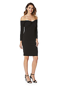 AX Paris Bardot Long Sleeve Dress - Black