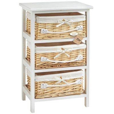 VonHaus 3 Wicker Basket Storage Bathroom Cabinet Drawers - White