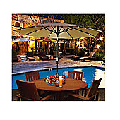 Outsunny 2.7m Garden Umbrella Outdoor Parasol with Hand Crank w/ 24 LEDs Lights (Brown)