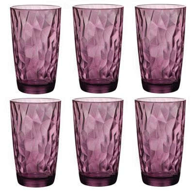 Bormioli Rocco Diamond Dimpled Cooler Glasses - Rock Purple - 470ml - Pack of 6