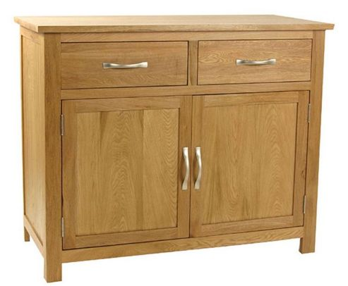 Kelburn Furniture Essentials 2 Drawer Sideboard in Light Oak Stain and Satin Lacquer