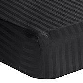 Homescapes Black Egyptian Cotton Satin Stripe Fitted Sheet 330 TC, Double