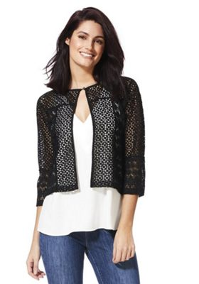 F&F Tapework Crochet Shrug Black 22