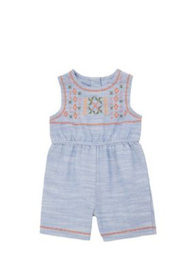 F&F Embroidered Jersey Playsuit Blue 9-12 months