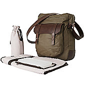 OiOi Man Nappy Change Bag -Brown Canvas/Leather Upright Satchel (6676)