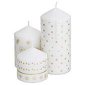 Tesco Christmas Set 3 Gold Pillar candles