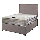 Happy Beds Bamboo Vitality 2000 Mattress Divan Bed Set Plain Headboard Slate Grey