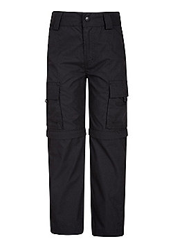Mountain Warehouse Kids Zip-off Trousers Cotton/Polyester Fabric Blend - Black