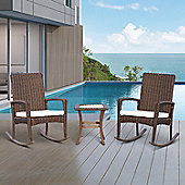 Outsunny 3PC Rattan Table Chairs Set Rocking Seat + Coffee Table