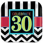 30th Birthday Dessert Plates - 17cm Paper Party Plates - 8 Pack
