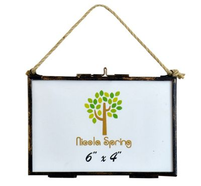 Nicola Spring Hanging Glass Vintage Photo Frame With Rope - 6x4 Photos