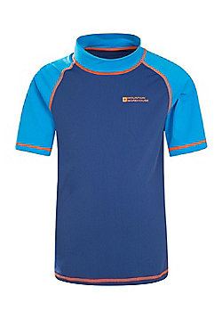 Mountain Warehouse Boys Rash Vest SPF50+ Treatment with Flat Seams for Swimming - Blue