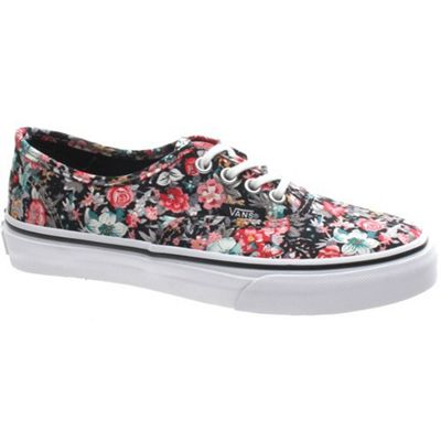 Vans Authentic (Multi Floral) Black/True White Kids Shoe WWXDL4