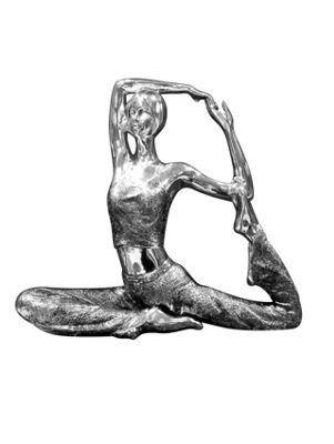 Electro Plated Silver Modern Yoga Lady Statue Ornament 1ft3 x 1ft1 38cm x 33cm
