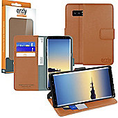 Orzly Multifunctional Wallet Case for Samsung Galaxy Note 8 - Brown Tan
