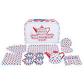 Bigjigs Toys Spotted Tin Tea Set with Carry Case - Playsets for Children