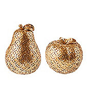 Gold Apple And Pear Christmas Table Decorations