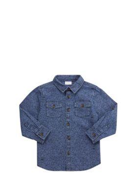 F&F Geometric Print Denim Shirt Mid Wash 12-18 months