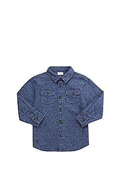 F&F Geometric Print Denim Shirt - Mid wash