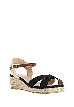 F&F Cross-Strap Wedge Espadrilles - Black