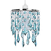 Jewel Ceiling Pendant Light Shade, Teal & Clear
