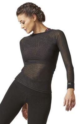 Mesh Long Sleeve Yoga Top Black M