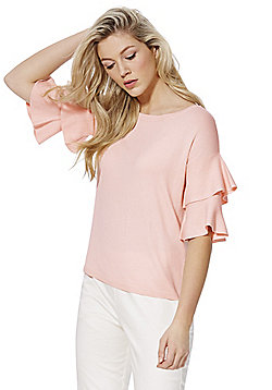 F&F Double Frill Sleeve Jumper - Pink