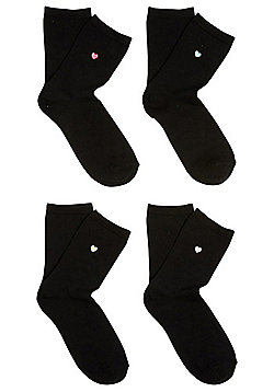 F&F 4 Pair Pack of Embroidered Heart Ankle Socks - Black
