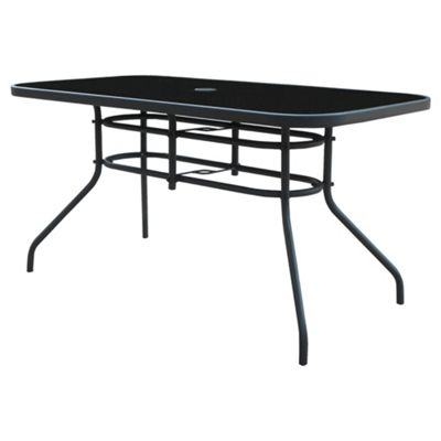 Seville Rectangular Glass & Steel Garden Table, Charcoal
