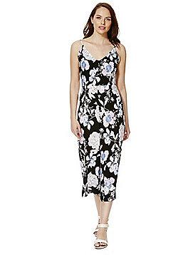 Mela London Floral Cropped Jumpsuit - Black
