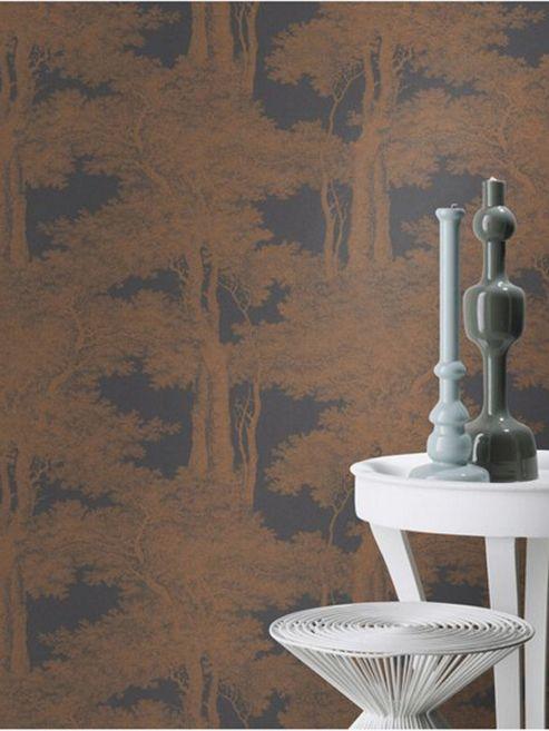 Passepartout Trees Wallpaper Black and Copper Rasch 605426