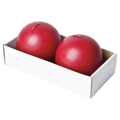 Tesco Unfragranced Ball Candles Set of 2 Berry