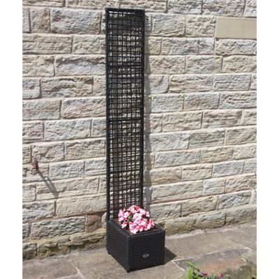 Hand Woven Rattan Trellis Flower Pots - Black