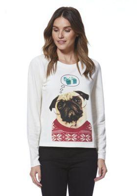 Only Daydreaming Pug Christmas Sweatshirt S Cream